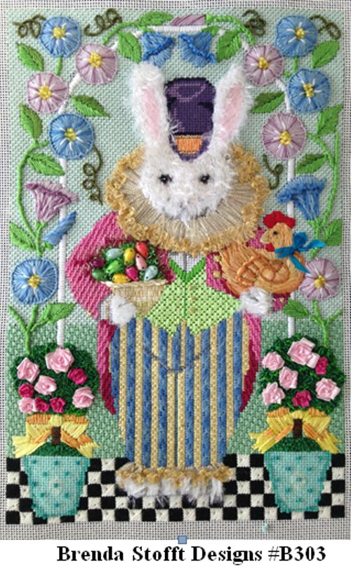 Easter Rabbit with Morning Glories