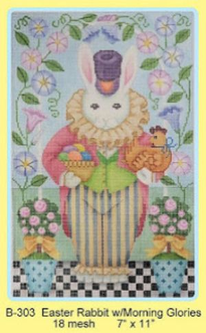 Easter Rabbit with Morning Glories - Brenda Stofft